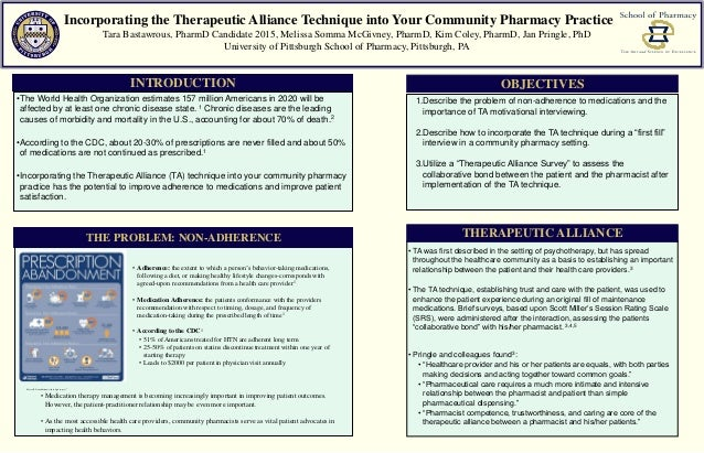 Incorporating the Therapeutic Alliance Technique into Your Community Pharmacy Practice Tara Bastawrous, PharmD Candidate 2...