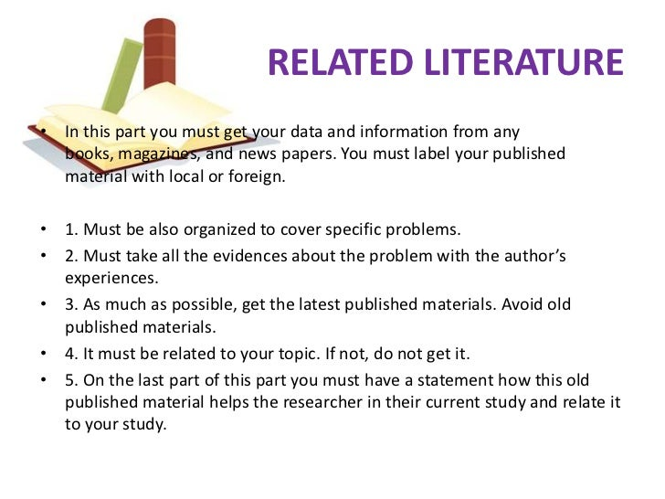 example of related literature for study Free essay: chapter 2 review of related literature and studies the previous chapter is all about the framework of the study how the study was made possible.