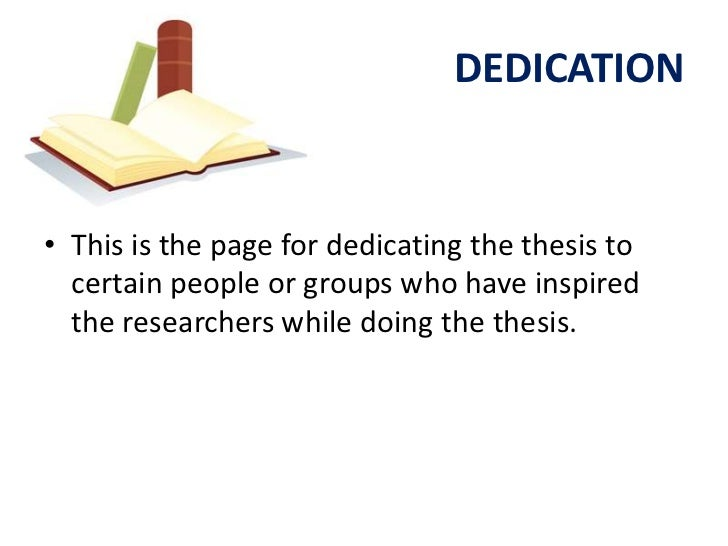Writing a dedication page thesis