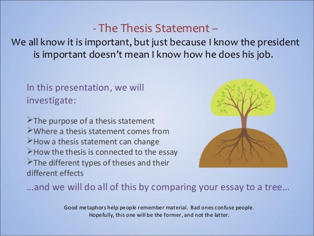 elements of a thesis statement Developing a thesis statement creating a framework readers of your papers will want you to do more than these will be the elements of your final thesis statement.