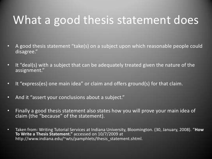 Why is a thesis statement one declarative sentence with twenty five words or less?