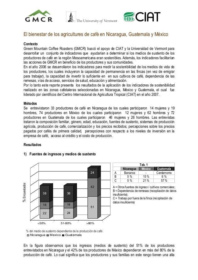 El bienestar de los agricultures de café en Nicaragua, Guatemala y México Contexto Green Mountain Coffee Roasters (GMCR) b...