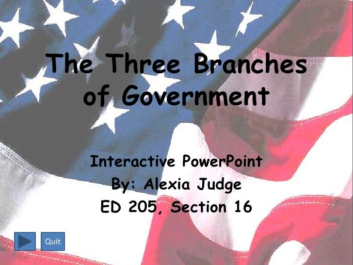 The Three Branches   of Government         Interactive PowerPoint           By: Alexia Judge         ED 205, Section 16  Q...