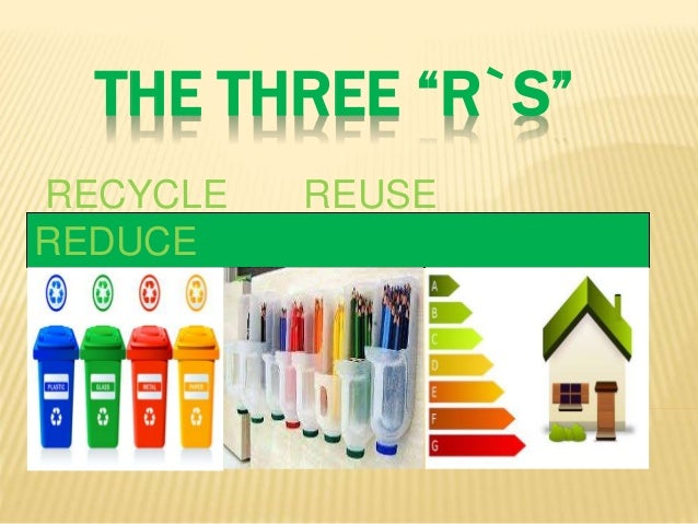 "THE THREE ""R`S"" RECYCLE REUSE REDUCE"