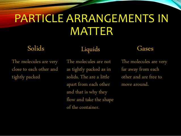CHANGE OF STATE IN MATTER • All matter exists as solids, liquids, or gases. These are called the states of matter. Matter ...