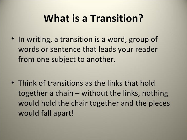 what are transitions in writing Effective paragraph transitions signal to readers how two consecutive  paragraphs relate to each other the transition signals the relationship.