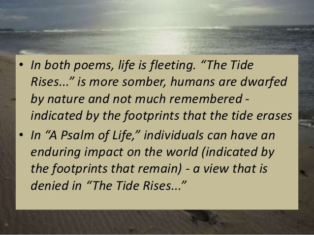 "compare and contrast the tide rises Longfellow repeats the line ""the tide rises, the tide falls"" 4 situations interior of his poem he does this so his theory of life persevering with after one's dying is reiterated many times."
