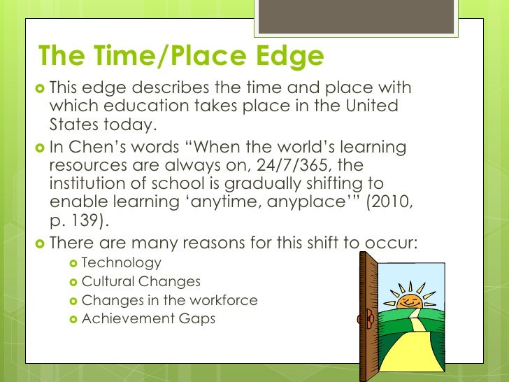 The Time/Place Edge This edge describes the time and place with  which education takes place in the United  States today....
