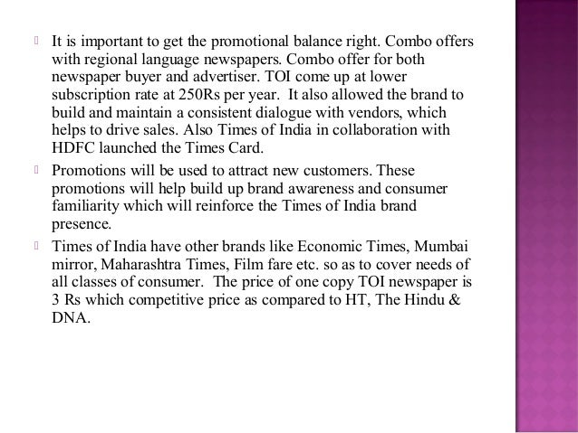 Marketing strategy of The Times of India