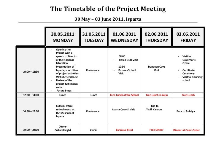 The Timetable of the Project Meeting                                       30 May – 03 June 2011, Isparta                3...