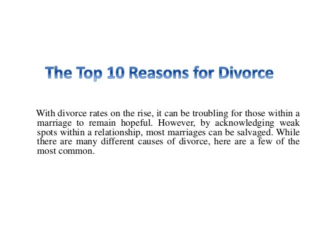 What are the top 10 reasons for divorce