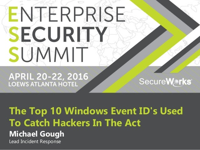 1 The Top 10 Windows Event ID's Used To Catch Hackers In The Act Michael Gough Lead Incident Response