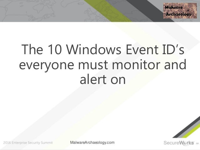 32 The 10 Windows Event ID's everyone must monitor and alert on MalwareArchaeology.com