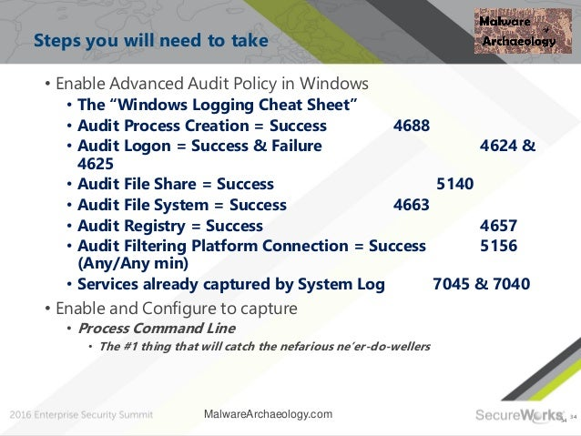 """34 Steps you will need to take 34 • Enable Advanced Audit Policy in Windows • The """"Windows Logging Cheat Sheet"""" • Audit Pr..."""