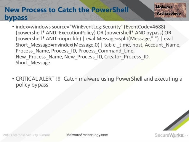 """47 New Process to Catch the PowerShell bypass • index=windows source=""""WinEventLog:Security"""" (EventCode=4688) (powershell* ..."""