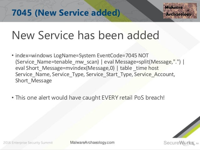 52 7045 (New Service added) New Service has been added • index=windows LogName=System EventCode=7045 NOT (Service_Name=ten...