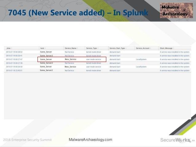53 7045 (New Service added) – In Splunk 53 MalwareArchaeology.com