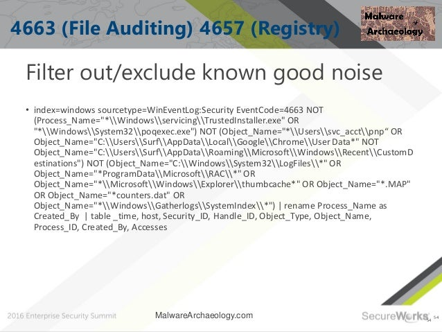 54 4663 (File Auditing) 4657 (Registry) Filter out/exclude known good noise • index=windows sourcetype=WinEventLog:Securit...