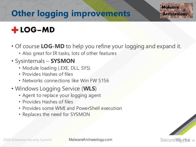 58 Other logging improvements • Of course LOG-MD to help you refine your logging and expand it. • Also great for IR tasks,...