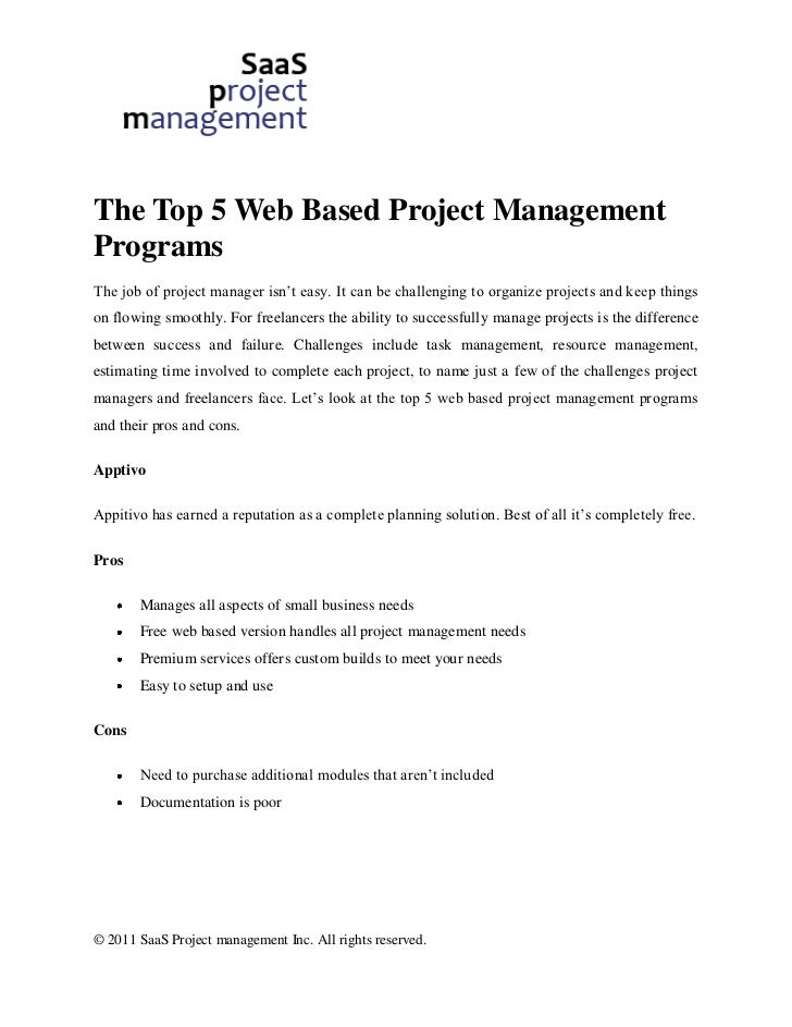 The Top 5 Web Based Project ManagementProgramsThe job of project manager isn't easy. It can be challenging to organize pro...