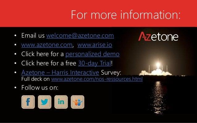 For more information:  •Email us welcome@azetone.com  •www.azetone.com, www.arise.io  •Click herefor a personalizeddemo  •...