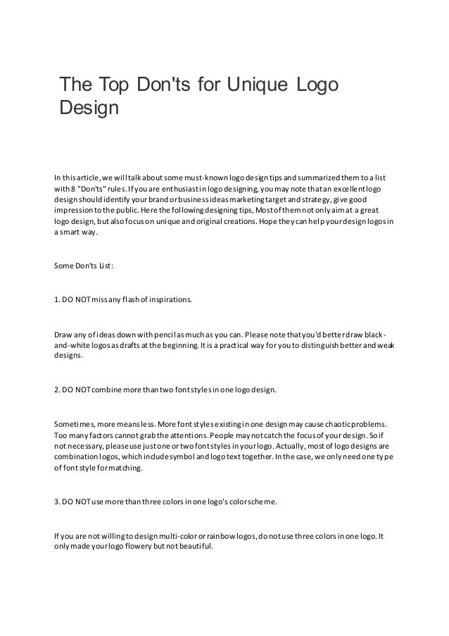 The Top Don'ts for Unique Logo Design In thisarticle,we will talkaboutsome must-knownlogodesigntipsandsummarizedthemtoa li...