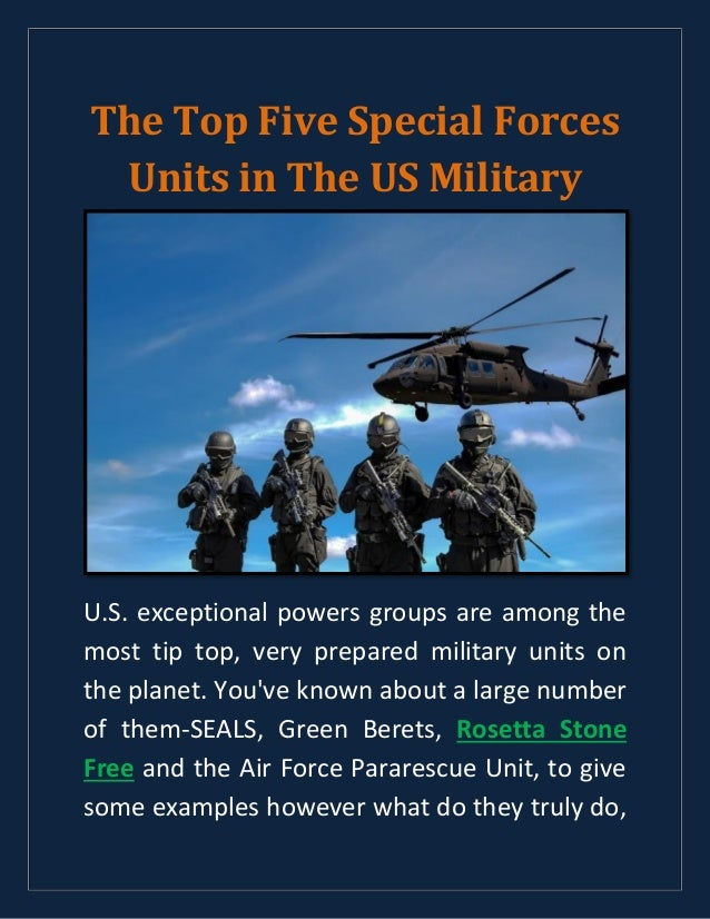 The top five special forces units in the us military