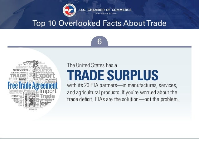Top 10 Overlooked Facts AboutTrade 6 The United States has a TRADE SURPLUSwith its 20 FTA partners—in manufactures, servic...