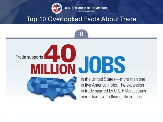 Top 10 Overlooked Facts AboutTrade 8 40JOBSin the United States—more than one in five American jobs. The expansion in trad...