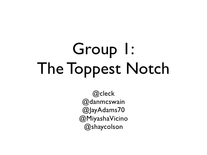 Group 1: The Toppest Notch        @cleck      @danmcswain      @JayAdams70      @MiyashaVicino       @shaycolson