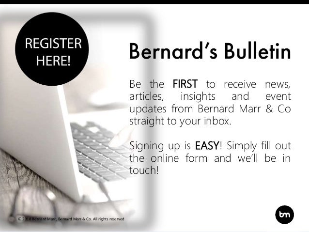 Title Subtitle Be the FIRST to receive news, articles, insights and event updates from Bernard Marr & Co straight to your ...