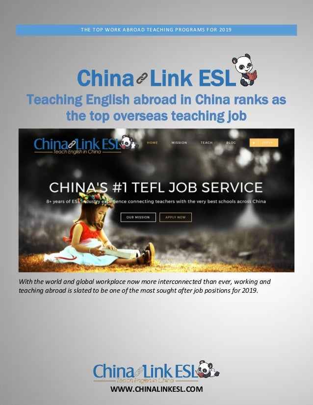 WWW.CHINALINKESL.COM THE TOP WORK ABROAD TEACHING PROGRAMS FOR 2019 China Link ESL Teaching English abroad in China ranks ...