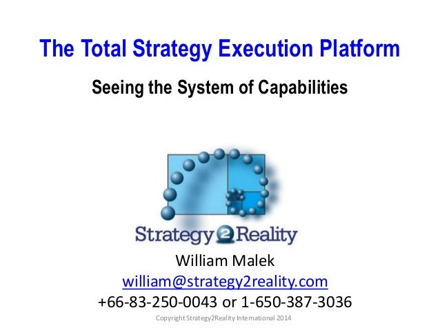 Copyright Strategy2Reality International 2014 The Total Strategy Execution Platform Seeing the System of Capabilities Will...