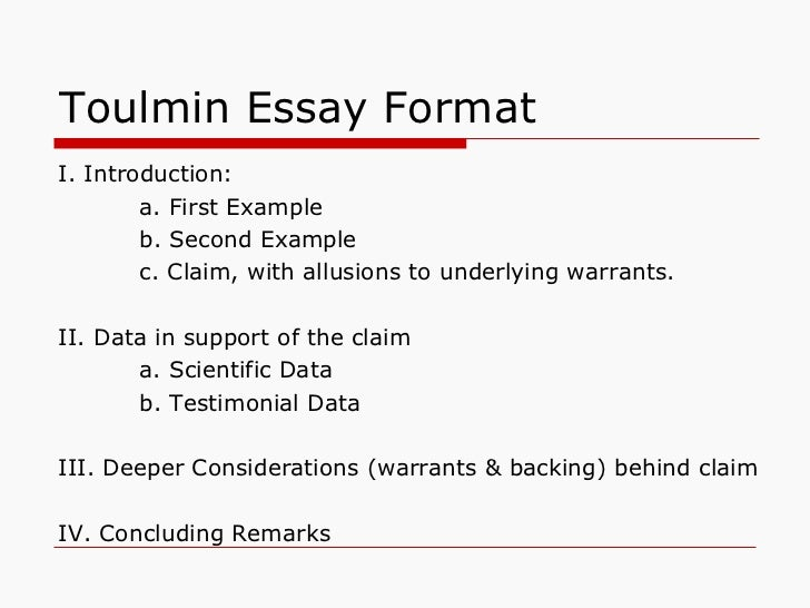 Toulmin model claim examples in essays