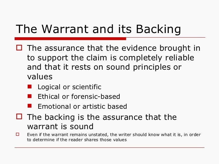 claim data warrant essay Claim data warrant backing qualifier rebuttal  generally, however, a simple  outline of an essay following toulmin's model might look something like this.