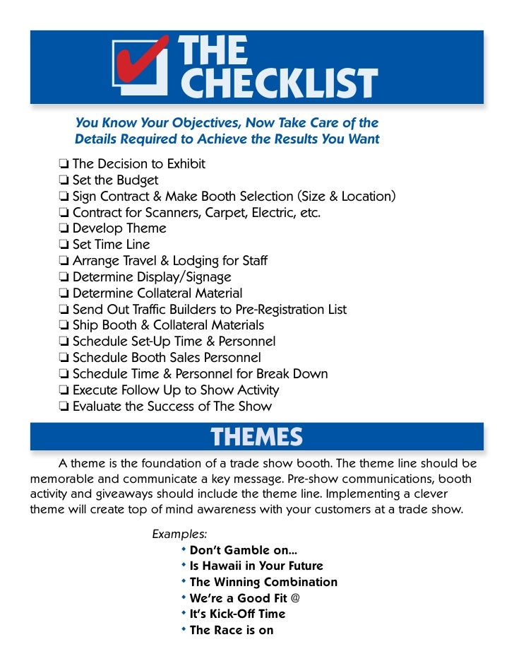 Exhibition Booth Checklist : The trade show file