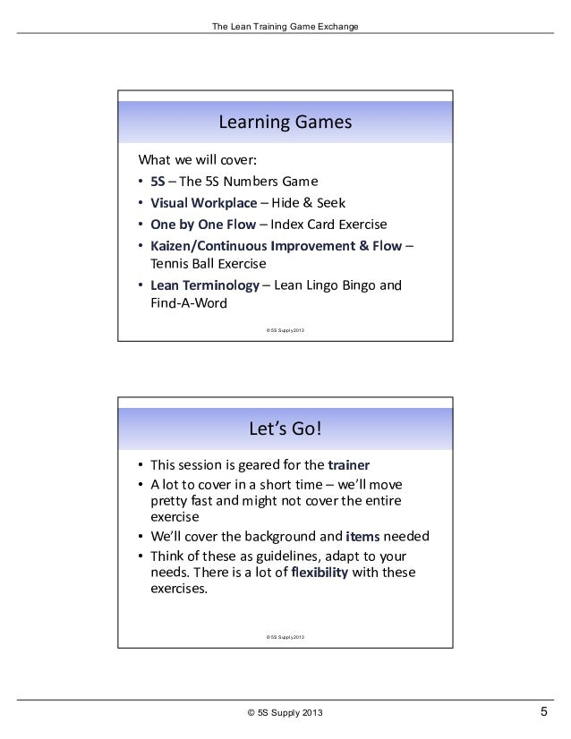 The Lean Training Game Exchange from 5S Supply - June 2013