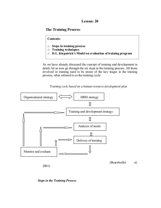 Lesson: 20 The Training Process: Contents: o Steps in training process o Training techniques o D.L. Kirpatrick's Model on ...