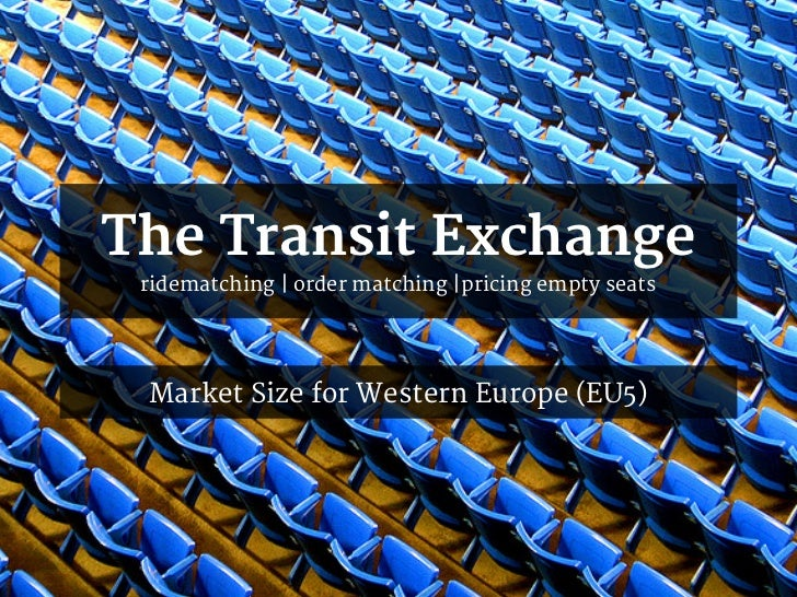 The Transit Exchange ridematching | order matching |pricing empty seats Market Size for Western Europe (EU5)