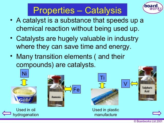 why are transition metals used as catalysts
