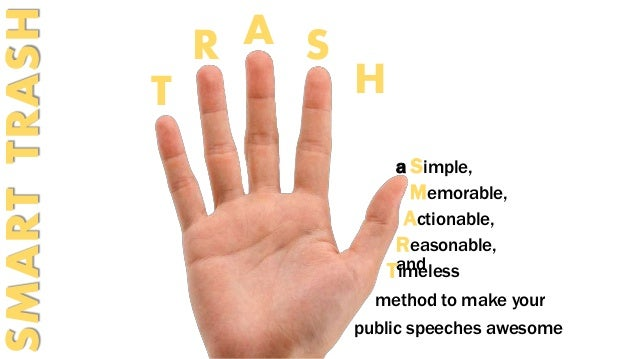 T  R A S  H  a Simple,  Memorable,  Actionable,  Reasonable,  Taimndeless  SMART TRASH  method to make your  public speech...