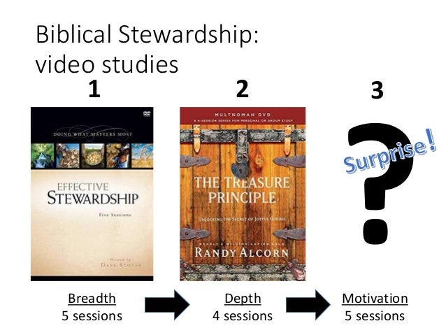 Biblical Stewardship: video studies Breadth 5 sessions Depth 4 sessions Motivation 5 sessions 21 3