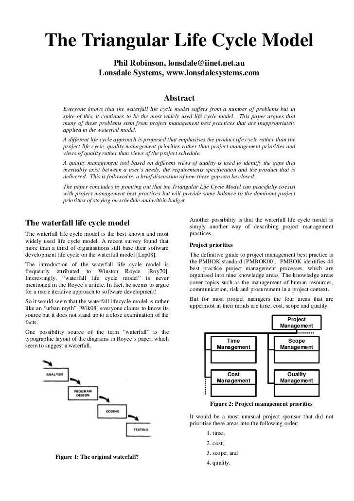 The Triangular Life Cycle Model                                  Phil Robinson, lonsdale@iinet.net.au                     ...