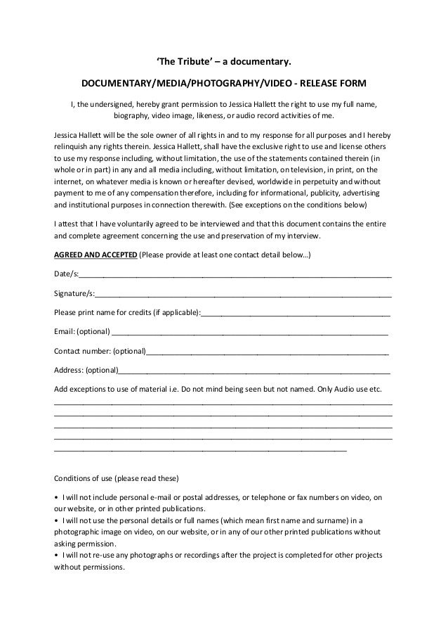 The tribute release form