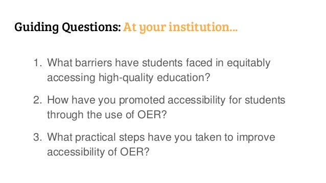 The Triple A (AAA) of OER: Accessibility, Availability, and