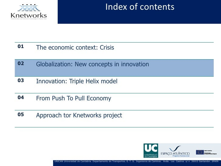 Index of contents01   The economic context: Crisis02   Globalization: New concepts in innovation03   Innovation: Triple He...