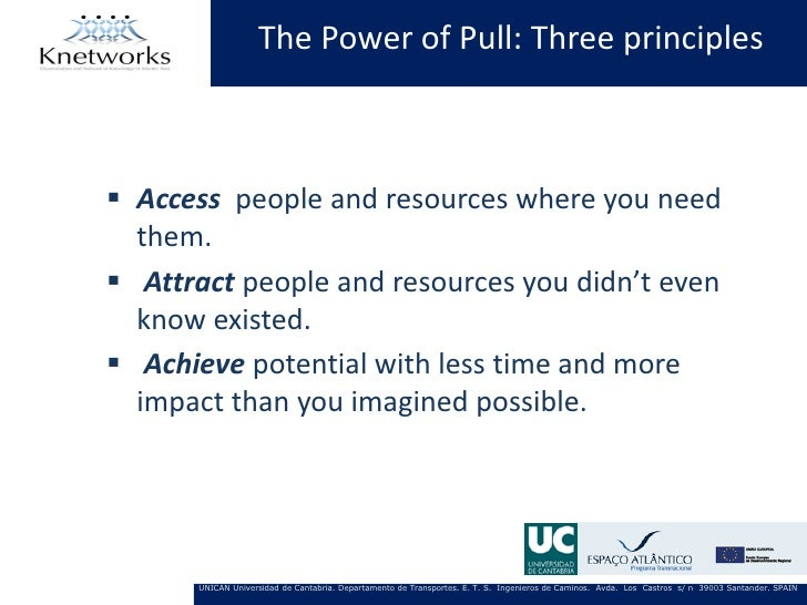 The Power of Pull: Three principles Access people and resources where you need  them. Attract people and resources you d...