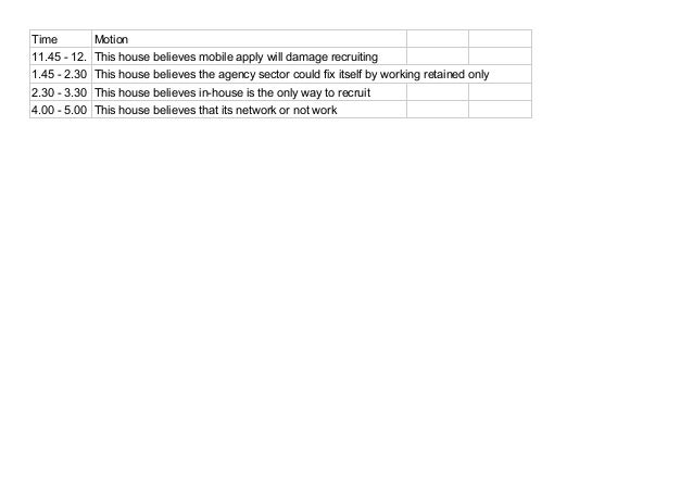 Time Motion  11.45 - 12. This house believes mobile apply will damage recruiting  1.45 - 2.30 This house believes the agen...