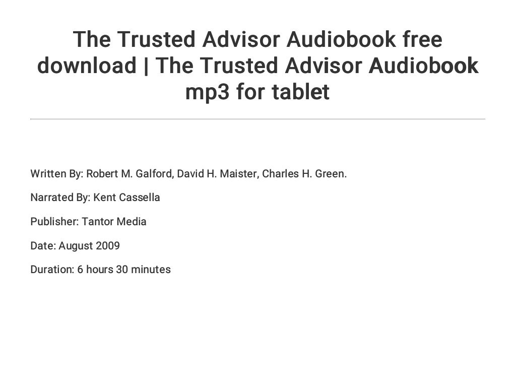 The Trusted Advisor PDF Free Download