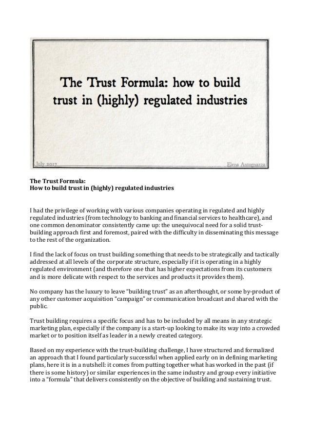 The trust formula